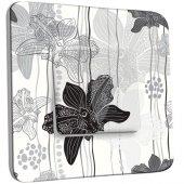 Interrupteur Décoré Poussoir Fleurs Abstrait Black&White