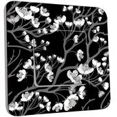 Interrupteur Décoré Poussoir Fleurs Abstrait Black&White 2