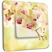 Interrupteur Décoré Poussoir Fleurs jaunes Zoom 1