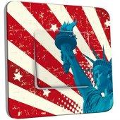 Interrupteur Décoré Poussoir Motif Americain statue de la Liberté