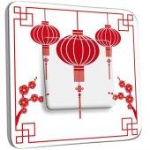 Interrupteur Décoré Poussoir Motif Chinois Lampions 1