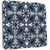 Interrupteur Décoré Poussoir Motif Oriental Bleu