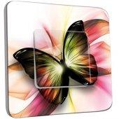 Interrupteur Décoré Poussoir Papillons Abstrait Zoom
