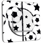 Interrupteur Décoré Simple Foot Design Black&White Etoiles