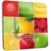 Interrupteur Décoré Simple Carrés de Fruits Zoom