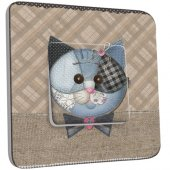 Interrupteur Décoré Simple Chat patchwork