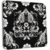 Interrupteur Décoré Simple Fleurs Abstrait Black&White 1