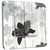 Interrupteur Décoré Simple Fleurs Abstrait Black&White