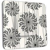Interrupteur Décoré Simple Fleurs design Black&White 1