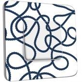Interrupteur Décoré Simple motif Marin Blanc Cordes