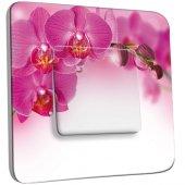 Interrupteur Décoré Simple Orchidée Rose