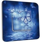 Interrupteur Décoré Simple Papillons Bleus Eau