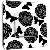 Interrupteur Décoré Simple Roses design Black&White
