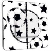 Intrerupator simplu decorate  Design Fotbal Alb&Negru Stele