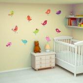 Kit Adesivo Murale bambini 15 uccelli