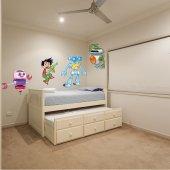 Kit Adesivo Murale bambini 3 robot e bambino