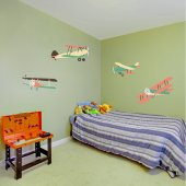 Kit Adesivo Murale bambini 4 aerei