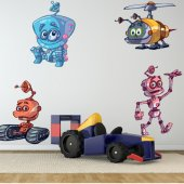 Kit Adesivo Murale bambini 4 robot