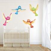 Kit Adesivo Murale bambini 4 uccelli