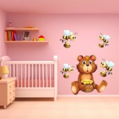 Kit Adesivo Murale bambini  5 api e orsetto