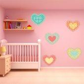 Kit Adesivo Murale bambini 5 cuori