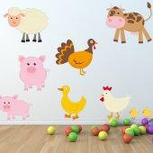 Kit Adesivo Murale bambini animali della fattoria