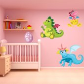 Kit Adesivo Murale bambini bebè dinosauro