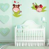 Kit Adesivo Murale bambini scimmia innamorata