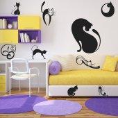 Kit Autocolante decorativo  12 gatos