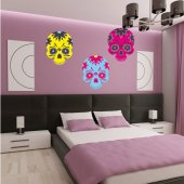 Kit Autocolante decorativo 4 caveiras coloridas