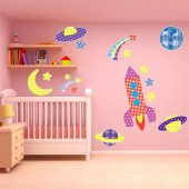 Kit Autocolante decorativo 9 infantil  espaço