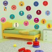 Kit Autocolante decorativo infantil 25 robôs
