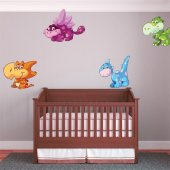 Kit Autocolante decorativo infantil 4 Dinosaurs