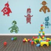 Kit Autocolante decorativo infantil 5 robôs