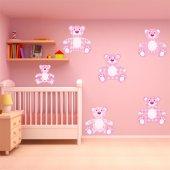 Kit Autocolante decorativo infantil 6 urso rosa