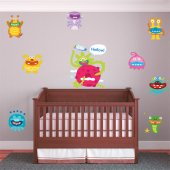 Kit Autocolante decorativo infantil 9 monstro