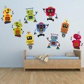 Kit Autocolante decorativo infantil 9 robôs