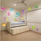 Kit Autocolante decorativo infantil ambiente marinho