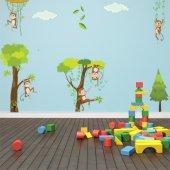 Kit Autocolante decorativo infantil macacos