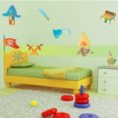 Kit Autocolante decorativo infantil piratas