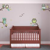 Autocollant Stickers enfant kit 4 branches hiboux