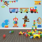 Autocollant Stickers enfant kit clown et animaux
