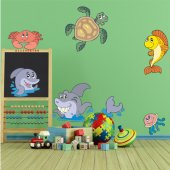 Autocollant Stickers enfant kit 7 animaux de mers