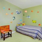 Autocollant Stickers enfant kit 16 fonds marins