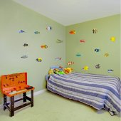 Autocollant Stickers enfant kit 20 poissons