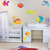 Autocollant Stickers enfant kit 7 poissons