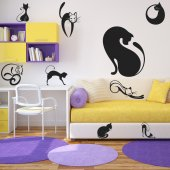 Kit Vinilo decorativo  12 gatos