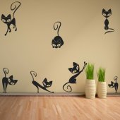Kit Vinilo decorativo  9 gatos