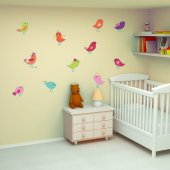 Kit Vinilo decorativo infantil 15 aves