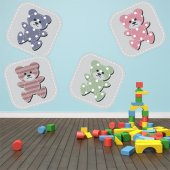 Kit Vinilo decorativo infantil 4 osos